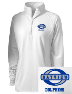 Bayview Elementary School Dolphins Embroidered Ladies Stretched Half-Zip Pullover