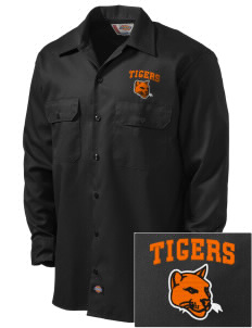 Tom Elementary School Tigers Embroidered Dickies Men's Long-Sleeve Workshirt