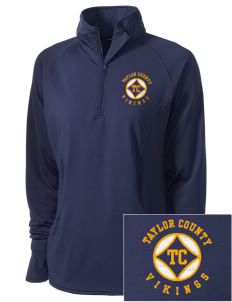 Taylor County Middle School Vikings Embroidered Ladies Stretched Half-Zip Pullover