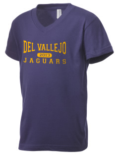 Del Vallejo Middle School Jaguars Kid's V-Neck Jersey T-Shirt