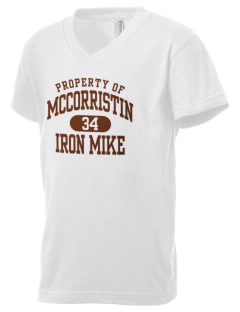 McCorristin Catholic High School Iron Mike Kid's V-Neck Jersey T-Shirt