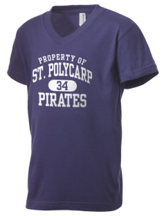 Saint Polycarp Elementary School Pirates Kid's V-Neck Jersey T-Shirt