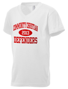 Community Christian Academy Defenders Kid's V-Neck Jersey T-Shirt