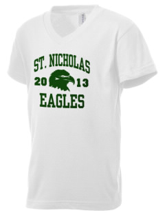 Saint Nicholas Catholic School Eagles Kid's V-Neck Jersey T-Shirt