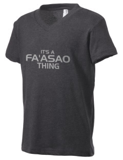 fa'asao high cougars Kid's V-Neck Jersey T-Shirt