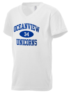 Oceanview Elementary School Unicorns Kid's V-Neck Jersey T-Shirt