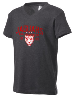 Mildred B Janson Elementary School Jaguars Kid's V-Neck Jersey T-Shirt