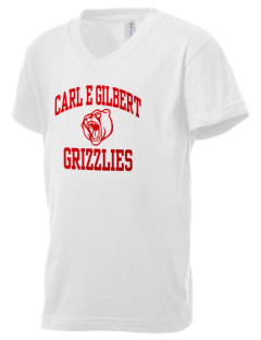 Carl E Gilbert Elementary School Grizzlies Kid's V-Neck Jersey T-Shirt