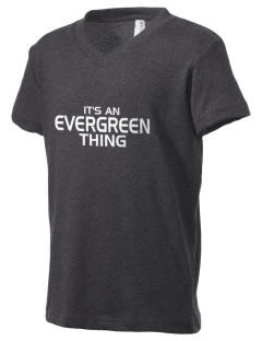 Evergreen Elementary School Ever Green Trees Kid's V-Neck Jersey T-Shirt