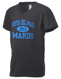 Vista del Mar School Makos Kid's V-Neck Jersey T-Shirt