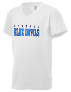Central High School Blue Devils Kid's V-Neck Jersey T-Shirt