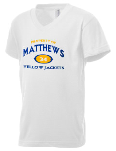 Matthews Elementary School Yellow Jackets Kid's V-Neck Jersey T-Shirt