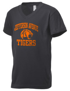 Jefferson Avenue Elementary School Tigers Kid's V-Neck Jersey T-Shirt