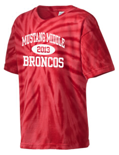 Mustang Middle School Broncos Kid's Tie-Dye T-Shirt
