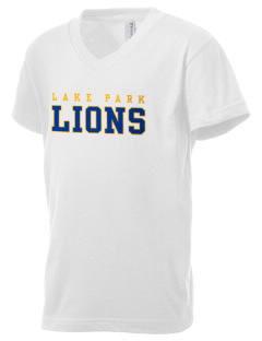 Lake Park Elementary School Lions Kid's V-Neck Jersey T-Shirt