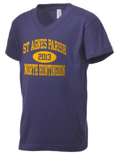 St Agnes Parish North Huntingdon Kid's V-Neck Jersey T-Shirt