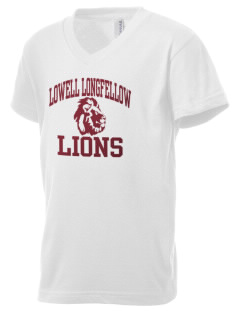 Lowell Longfellow Elementary School Lions Kid's V-Neck Jersey T-Shirt