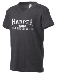 Harper High School Cardinals Kid's V-Neck Jersey T-Shirt