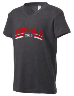 Franklin Elementary School Fireballs Kid's V-Neck Jersey T-Shirt
