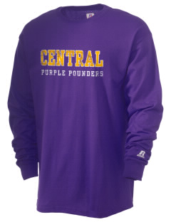 Central High School Purple Pounders  Russell Men's Long Sleeve T-Shirt
