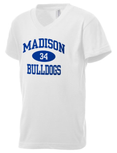 Madison Middle School Bulldogs Kid's V-Neck Jersey T-Shirt