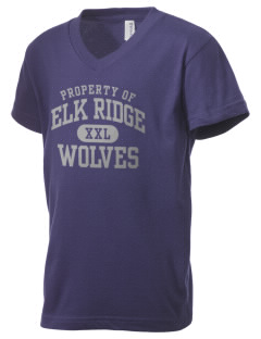 Elk Ridge Elementary School Wolves Kid's V-Neck Jersey T-Shirt
