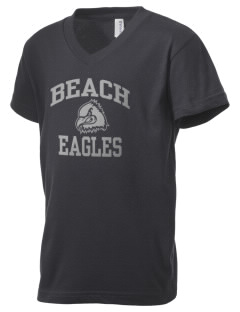 Beach Elementary School Eagles Kid's V-Neck Jersey T-Shirt