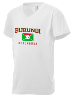 Burundi Kid's V-Neck Jersey T-Shirt