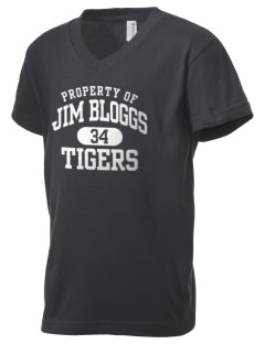 Jim Bloggs School Tigers Kid's V-Neck Jersey T-Shirt