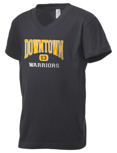 Downtown Middle School Warriors Kid's V-Neck Jersey T-Shirt