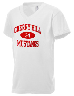 Cherry Hill Elementary School Mustangs Kid's V-Neck Jersey T-Shirt