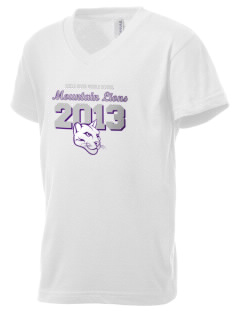 Icicle River Middle School Mountain Lions Kid's V-Neck Jersey T-Shirt