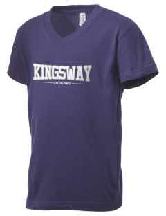 Kingsway Elementary School Cougars Kid's V-Neck Jersey T-Shirt