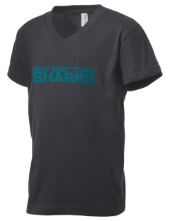 Steinbeck Elementary School Sharks Kid's V-Neck Jersey T-Shirt