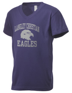 Langley Christian School Eagles Kid's V-Neck Jersey T-Shirt