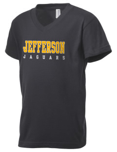 Jefferson Middle School Jaguars Kid's V-Neck Jersey T-Shirt
