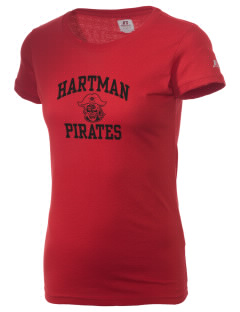 Hartman Middle School Pirates  Russell Women's Campus T-Shirt