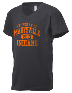 Marysville High School Indians Kid's V-Neck Jersey T-Shirt