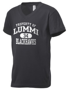 Lummi Nation School Blackhawks Kid's V-Neck Jersey T-Shirt
