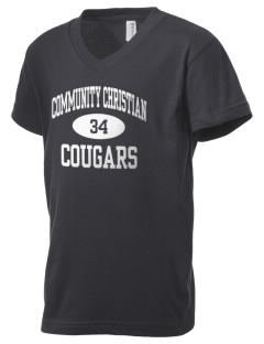 Community Christian School Cougars Kid's V-Neck Jersey T-Shirt