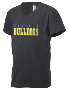 Anatola Elementx1y School Bulldogs Kid's V-Neck Jersey T-Shirt