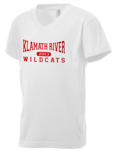 Klamath River Elementary School Wildcats Kid's V-Neck Jersey T-Shirt