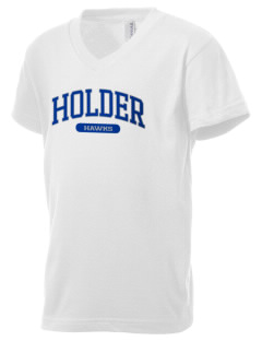 Holder Elementary School Hawks Kid's V-Neck Jersey T-Shirt