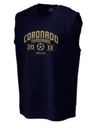The perfect in-between custom Coronado High School Thunderbirds sleeveless crewneck T-Shirt.  The Coronado High School Thunderbirds sleeveless tee is preshrunk with double-needle stitching on neck, and hemmed armholes.  Ash color is 99% cotton, 1% polyester.  Sport Grey is 90% cotton, 10% polyester.