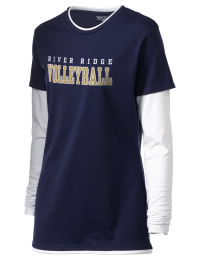 No extra layers needed. This double layered River Ridge High School Knights tee shirt gives you twice the amount of style and comfort. The custom River Ridge High School Knights T-Shirt features white long sleeves and peek-a-boo white neck and hem for a sporty look.
