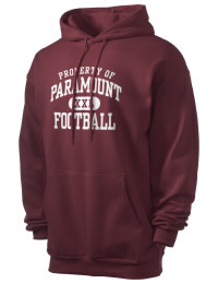 Crafted for comfort, this lighter weight Paramount High School Pirates hooded sweatshirt is perfect for relaxing and it's a real value for a sportswear hoody. A must have for the serious Paramount High School Pirates apparel and merchandise collection. 50/50 cotton/poly fleece hoodie with two-ply hood, dyed-to-match drawcord, set-in sleeves, and front pouch pocket round out the features of a Pirates hooded sweatshirt.