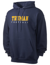 Crafted for comfort, this lighter weight Truman High School Blue Jays hooded sweatshirt is perfect for relaxing and it's a real value for a sportswear hoody. A must have for the serious Truman High School Blue Jays apparel and merchandise collection. 50/50 cotton/poly fleece hoodie with two-ply hood, dyed-to-match drawcord, set-in sleeves, and front pouch pocket round out the features of a Blue Jays hooded sweatshirt.