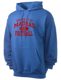 Crafted for comfort, this lighter weight Madras High School White Buffaloes hooded sweatshirt is perfect for relaxing and it's a real value for a sportswear hoody. A must have for the serious Madras High School White Buffaloes apparel and merchandise collection. 50/50 cotton/poly fleece hoodie with two-ply hood, dyed-to-match drawcord, set-in sleeves, and front pouch pocket round out the features of a White Buffaloes hooded sweatshirt.
