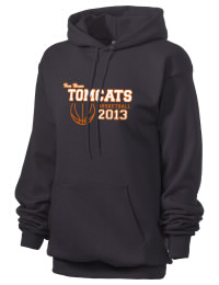Crafted for comfort, this lighter weight Tom Bean High School Tomcats hooded sweatshirt is perfect for relaxing and it's a real value for a sportswear hoody. A must have for the serious Tom Bean High School Tomcats apparel and merchandise collection. 50/50 cotton/poly fleece hoodie with two-ply hood, dyed-to-match drawcord, set-in sleeves, and front pouch pocket round out the features of a Tomcats hooded sweatshirt.