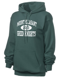 Crafted for comfort, this lighter weight Mount Pleasant High School Green Knights hooded sweatshirt is perfect for relaxing and it's a real value for a sportswear hoody. A must have for the serious Mount Pleasant High School Green Knights apparel and merchandise collection. 50/50 cotton/poly fleece hoodie with two-ply hood, dyed-to-match drawcord, set-in sleeves, and front pouch pocket round out the features of a Green Knights hooded sweatshirt.